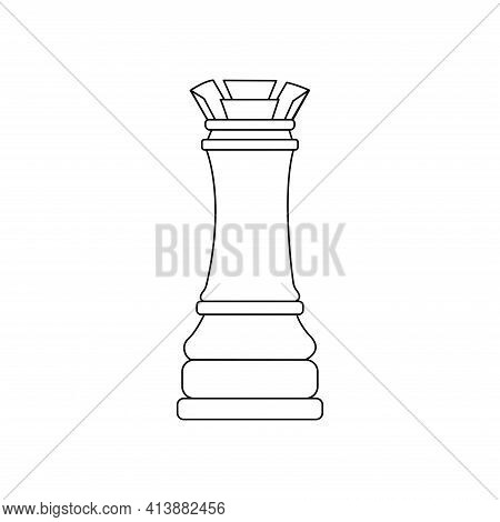 Rook Chess Piece. Vector Black And White Isolated Outline Linear Illustration Chessman Icon