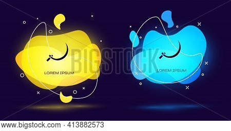 Black Sickle Icon Isolated On Black Background. Reaping Hook Sign. Abstract Banner With Liquid Shape