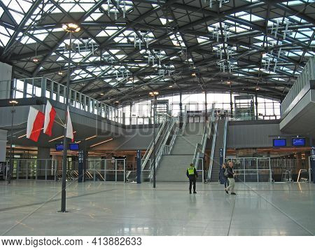 Lodz - Poland. 18 June 2019: View To Beautiful Building Of Railway Station. Modern Interior In Build