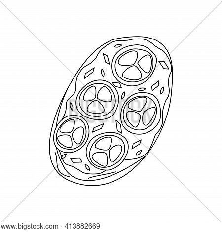 Sandwich With Tomatoes, Sesame And Cream Cheese, Breakfast Or Snack. Black And White Doodle Illustra