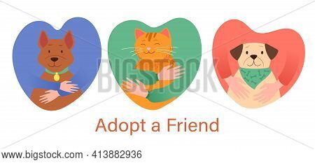 Adopt A Friend Abstract Concept. Human Hands Hugging Pet Cat And Two Dogs Dogs Depicted In Heart-sha