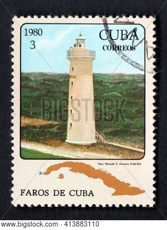 Cuba - Circa 1980: Cuban Lighthouse On Postage Stamp. Lighthouses Of Cuba. Liberty Island. Old Light