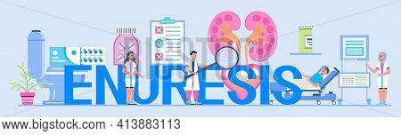 Enuresis Concept Vector. Cystitis Illustration For Medical Website. Urologist, Nephritis Symbol Tiny