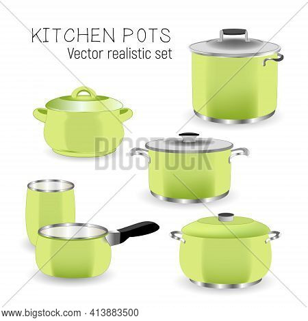 Set Of Kitchen Green Pans. Illustration Of Cookware Realistic Design Isolated On A White Background.