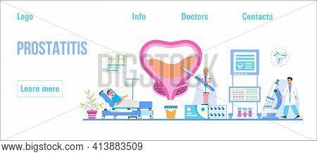 Prostatitis Concept Vector For Medical Website, Blog, App, Header. Treatment Of The Prostate In The