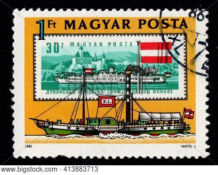 Hungary - Circa 1981: Postage Stamp Dedicated To Danube Commission. Ship On Postage Stamp Magyar Pos