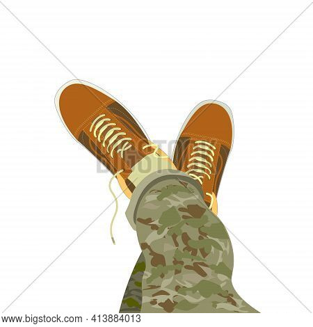 Isolated Vector Illustration Of A Foot In Sneakers. Symbol Rest At A Halt, Relaxation, Indifference.