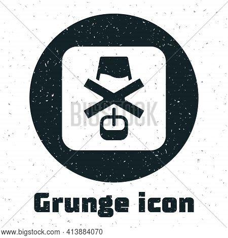 Grunge No Alcohol Icon Isolated On White Background. Prohibiting Alcohol Beverages. Forbidden Symbol