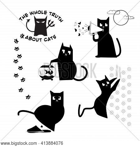 Funny Bad Cat Behavior Set. Black And White Cartoon Pictures, Icons The Cat Yells, Urinates In The S