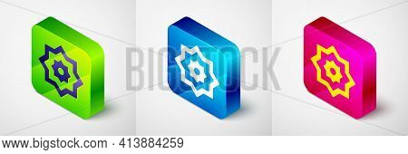 Isometric Islamic Octagonal Star Ornament Icon Isolated On Grey Background. Square Button. Vector