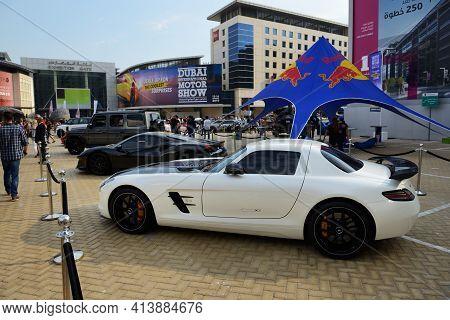 Dubai, Uae - November 16: The Mercedes-benz Sls Amg Sportscar Is On Dubai Motor Show 2019 On Novembe