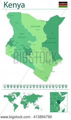 Kenya Detailed Map And Flag. Kenya On World Map.