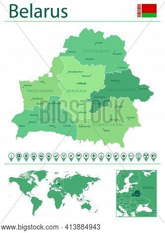 Belarus Detailed Map And Flag. Belarus On World Map.