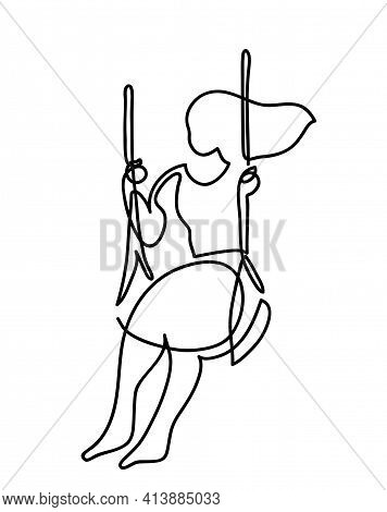 One Line Drawing Swinging Woman. One Continuous Line Drawing Of Woman Swinging Alone On A Swing.