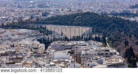 Athens City Greece And Ancient Panathenaic Stadium, Kallimarmaro Aerial View From Lycabettus Mount.
