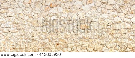 Stonewall Background Texture. Building Facade, Fence Banner