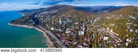 Aerial panorama of the town of Khosta and the Black Sea, Russia