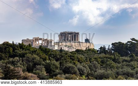 Acropolis Rock View From Filopappou Hill, Athens, Greece. Historic Landmark. Unesco World Heritage A