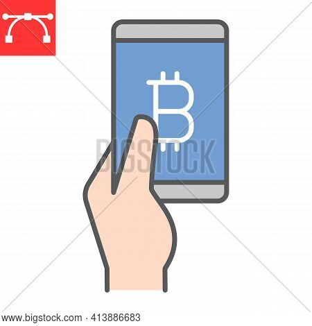 Bitcoin Mobile Pay Color Line Icon, Payment And Pay With Bitcoin, Hand Holding Smartphone Vector Ico