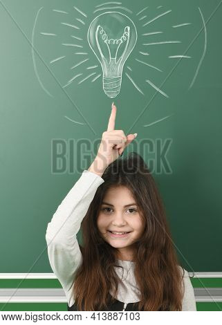 Pre-adolescent Girl Who Just Came Up With Gread Idea, Isolated School Board Background With Drawn Ch