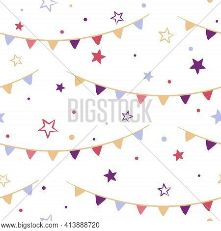Seamless Vector Pattern With Stars And Garland Of Flags. Cute Kids Background In Doodle Style. Vecto