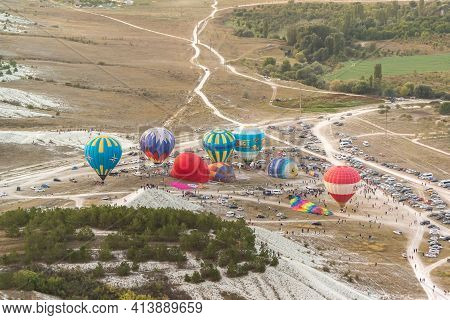 Russia, Crimea, Belogorsk September 19, 2020-preparation For The Launch Of Colorful Balloons At The