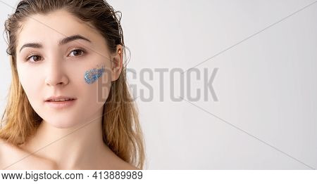 Facial Care. Skin Treatment. Freshness Beauty. Portrait Of Woman With Natural Makeup Blue Beads Gel