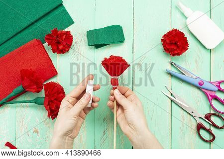 How To Make A Carnation Flower At Home. Hands Make A Red Carnation. Step-by-step Instruction. Diy Ch
