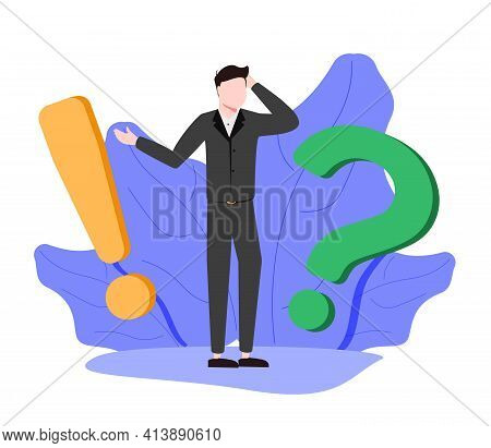 Vector Illustration, Concept Illustration Of Frequently Asked Questions Of Exclamation Marks And Que