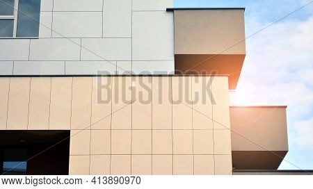 Part Of City Real Estate Property And Condo Architecture. Detail In Modern Residential Flat Apartmen