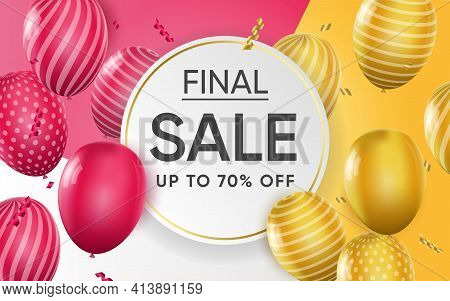3d Poster Of Final Sale Up To 70 Percent Off Realistic Design. Discount Prices For Shopping. Retail,
