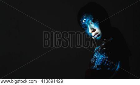 Art Portrait. Soul Purity. Water Energy. Spiritual Chakra. Blue Color Mystic Asian Woman Face Silhou