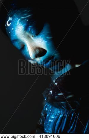 Art Portrait. Imaginary Universe. Consciousness Knowledge. Mind Purity. Tranquil Blue Asian Surreal
