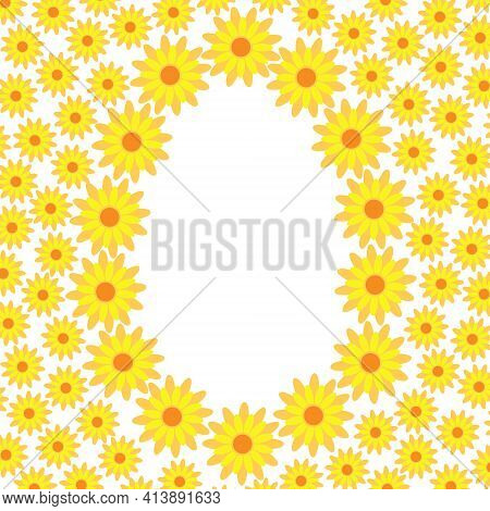 Yellow Cute Fancy Flower Greeting Card Template Vector Illustration In Simple Flat Style, Floral Com