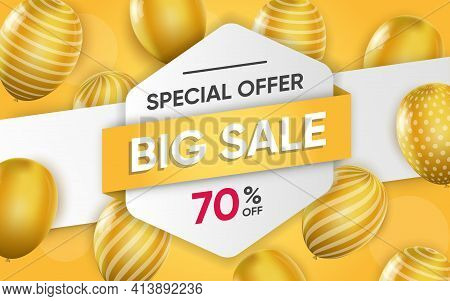 3d Poster Of Big Sale With Special Offer To 70 Percent In Realistic Design. Flyer Template With Disc