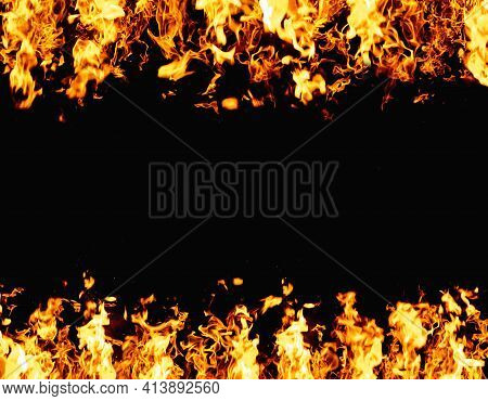 Flame Banner. Burning Frame. Grill Heat. Bright Orange Yellow Fireplace Ignite Blast Glow Isolated O