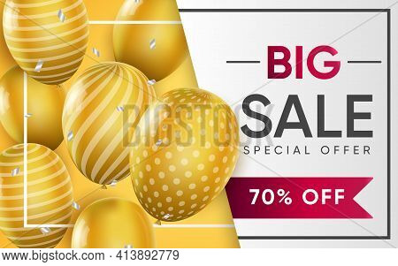 3d Poster Of Big Sale Realistic Design. Attracting New Customers With Discount Price Up To 70 Percen