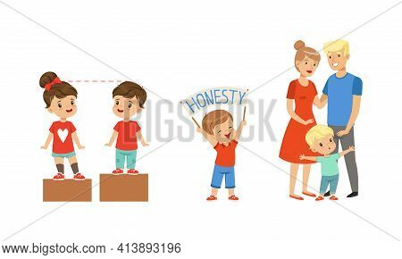 Kind And Fair Little Girl And Boy Character Holding Honesty Banner And Protecting Parents Vector Ill