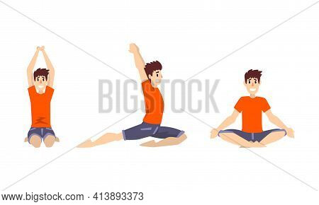 Smiling Man In Red Sweatshirt Doing Yoga Breathing In Different Asana Vector Set