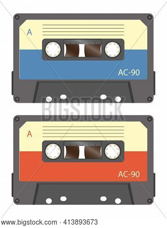 Cassette Tape Recorder Retro Vintage Mixer.isolated On White Background. Flat Style Front Side. Vect