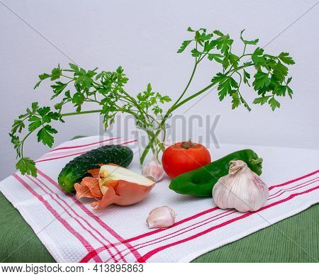 Garlic, Tomatoes, Cucumbers, Onions And Peppers, Ingredients To Make Andalusian Gazpacho.