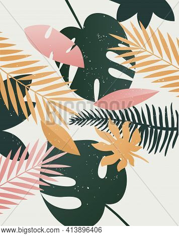 Vector Summer Tropical Print. Template Background Palm Trees, Leaves, Leaf, Nature, Summer Time Art