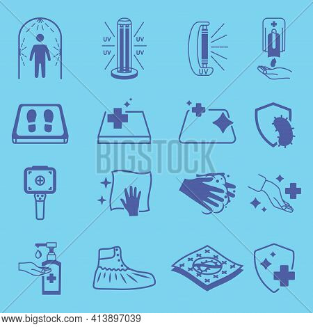 Disinfection Icons. Cleaning And Sanitizer Surface, Wash Hand Gel, Uv Lamp, Sanitizing Mat, Thermogr