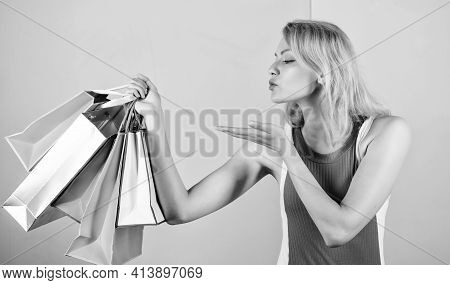 Love Shopping. Happy Woman Shopper. Big Sale. Female Shopaholic Hold Shopping Bags. Present Packages