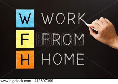 Acronym Wfh Work From Home Handwritten With White Chalk On Blackboard. Home Office Concept.
