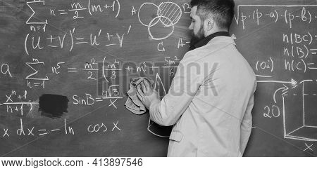 Prepare For Lesson. Teacher Bearded Man Cleaning Chalkboard Background. Teacher Wiping Chalkboard. S