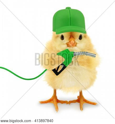 Cute cool chick gas station worker with fuel nozzle funny conceptual image