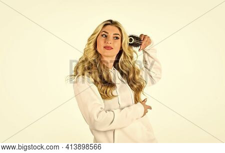 Specialize In All Phases. New Hairstyle For Today. Fashion Photo Of Beautiful Lady. Woman Curling Ha