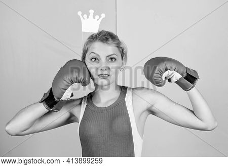 Fight For Success. Female Boxer Boxing Gloves. Girl Queen Sport Champion. Be The Best. Lady Winner.