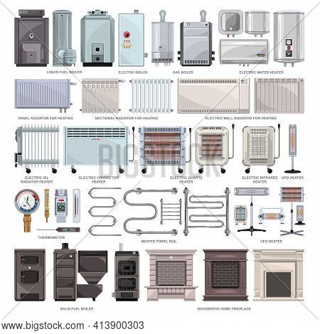 Electric Heater Vector Cartoon Set Icon. Vector Illustration Boiler On White Background. Isolated Ca